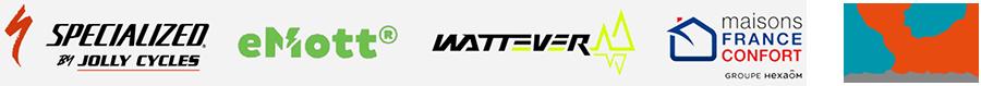logos partenaires Specialized eMott Wattever et Maisons France Confort